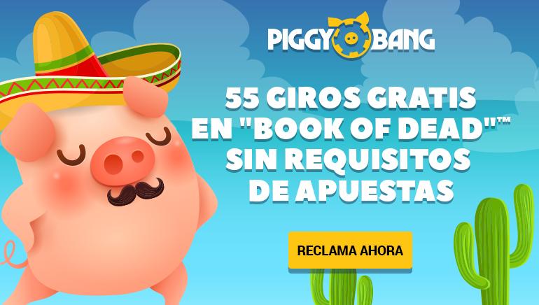 Los nuevos miembros de Piggy Bang Casino en México disfrutarán de un bono de bienvenida de hasta 55 giros libres