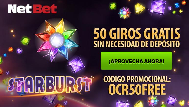 Aprovecha las 50 tiradas sin depósito de Starburst en NetBet Casino